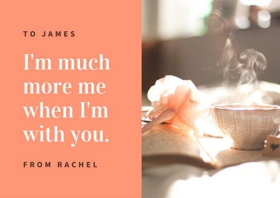 Дизайн открытки о любви с фотографией чашки кофе