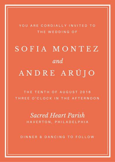 Оранжевый фон приглашения на свадьбу с белой рамкой