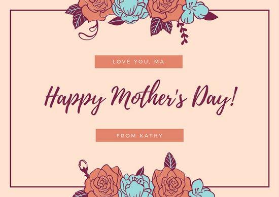 Открытка ко дню матери с рисунками цветов на персиковом фоне
