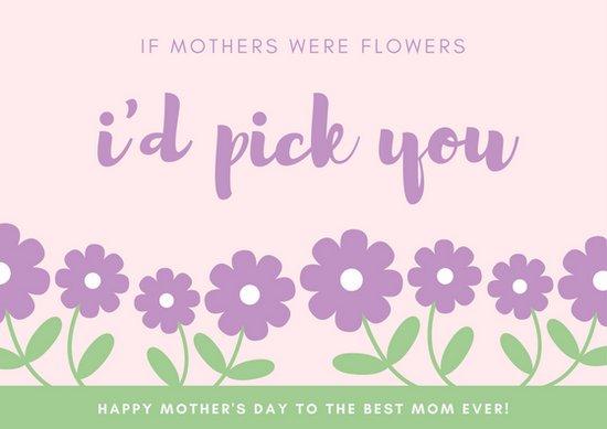 Шаблон открытки с днем матери на розовом фоне с рисунками цветов