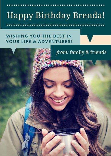 Плакат на день рождения подруги с фотографией девушки и поздравлениями