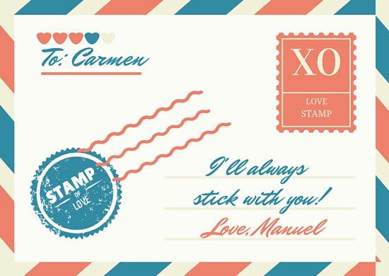 Шаблон открытки о любви в виде почтового конверта