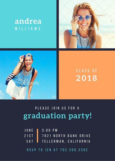 Шаблон пригласительного на вечеринку с фотографиями девушек в рамках и сине-оранжевой графикой
