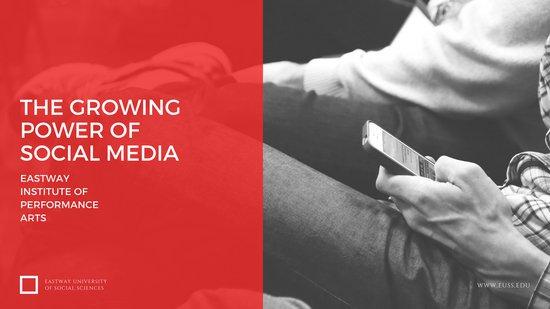 Дизайн слайда презентации о социальных медиа с фотографией и красным фоном