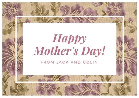 Идея для открытки маме на цветочном фоне с белой рамкой