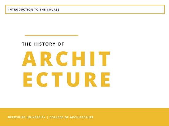 Шаблон презентации с белым фоном и желтым шрифтов