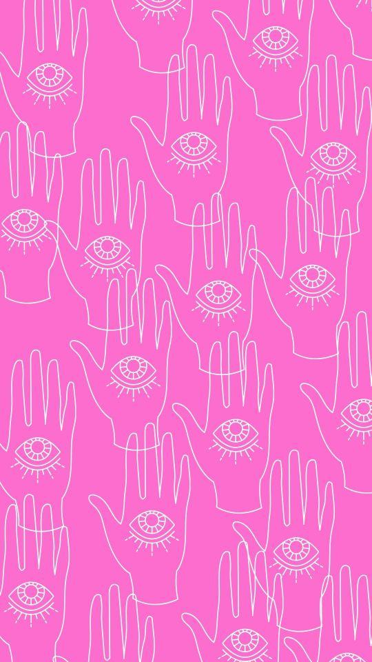 Pink White Yellow Retro Hand Pattern Phone Wallpaper