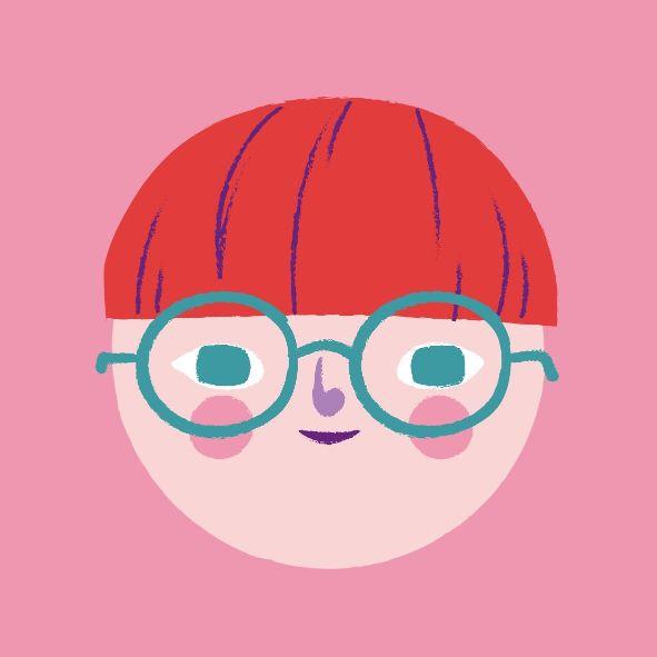 Рисунок лица с красными волосами для фото профиля