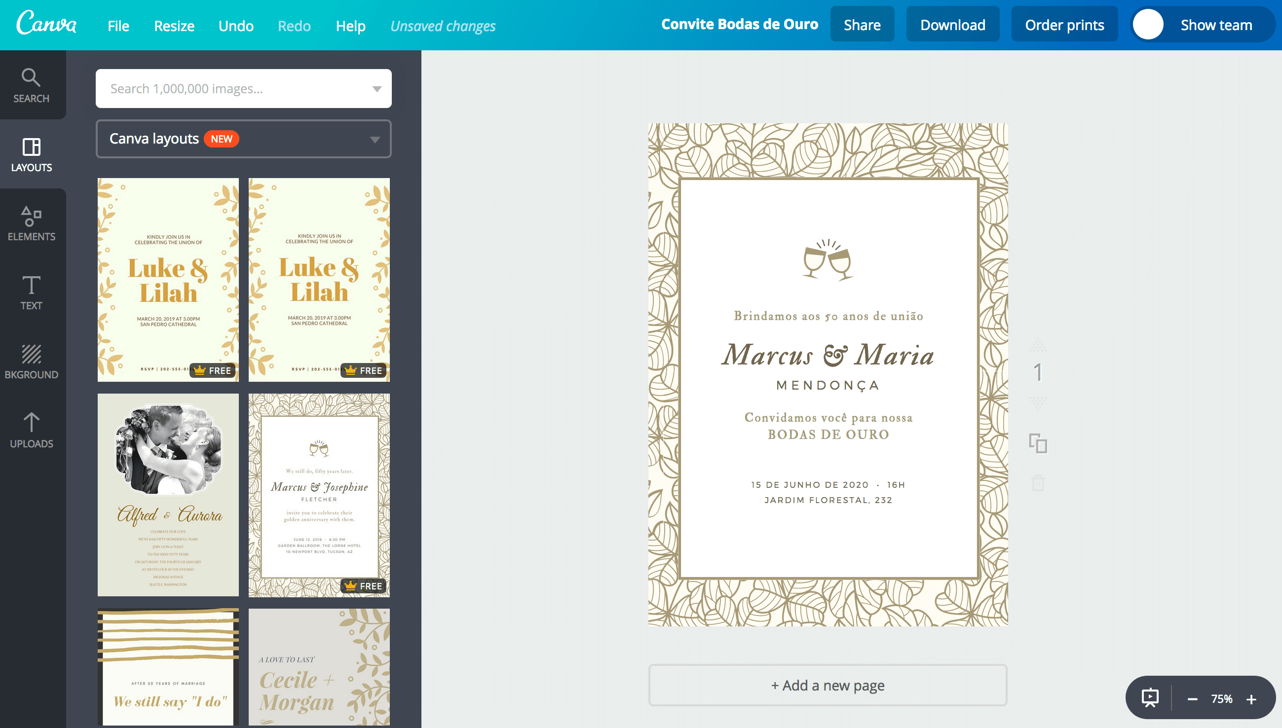 Crie Um Lindo Convite De Bodas De Ouro Para Imprimir Canva
