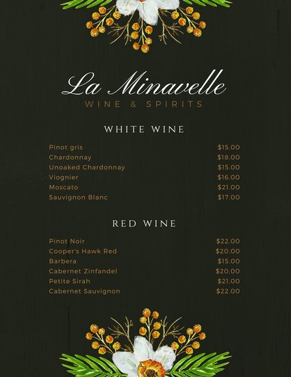 Шаблоны карты вин на темном фоне с рисунком цветов