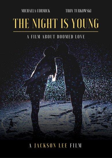 Киноплакат для романтической комедии с фото влюбленных под дождем