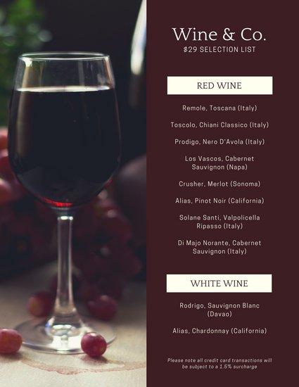 Шаблон алкогольной карты с фото бокала красного вина