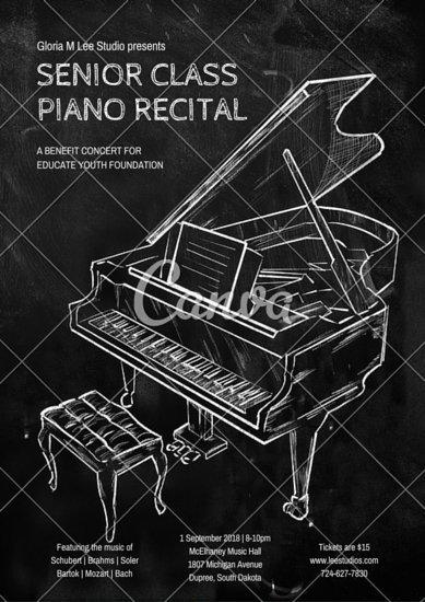 Афиша концерта с рисунком рояля мелом на черной доске