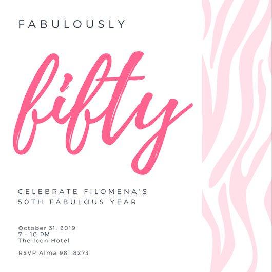 Дизайн пригласительного с розовой надписью и полосами на белом фоне