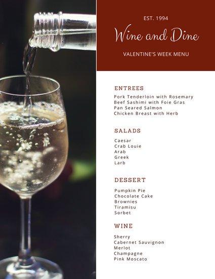 Шаблон винной карты с фотографией бокала с белым вином