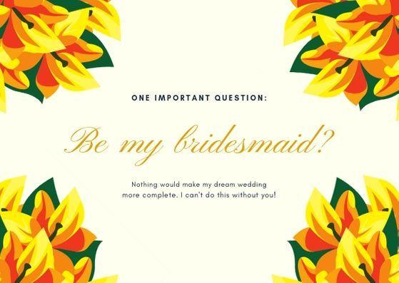Шаблон открытки к свадьбе с желтыми цветами