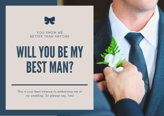 Пример свадебной открытки с фото жениха в костюме