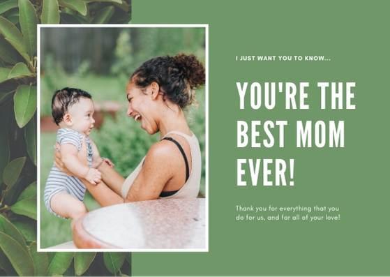 Открытка для мамы с фото и зеленым фоном