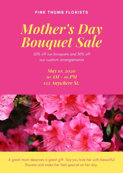 Pink Modern Mothers Day Promo Flyer
