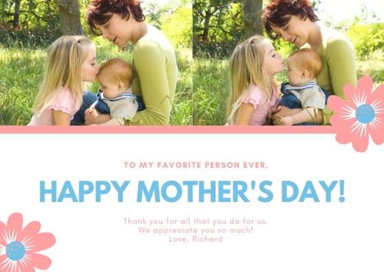 Шаблон открытки с Днем матери с фото и рисунками цветов