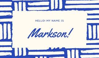 Дизайн таблички с именем с надписью в бело-синей переплетеной рамке