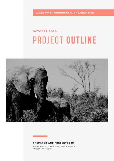 Макет отчета экологической организации с черно-белой фотографией слонов и красной графикой