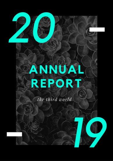 Образец годового отчета социального исследования в черно-бирюзовых тонах