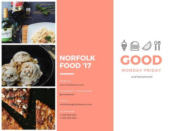 Идея буклета с лососево-белым фоном и фотографиями еды