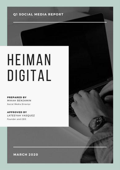 Шаблон отчета об исследовании с черно-белой фотографией человека за ноутбуком и голубой рамкой