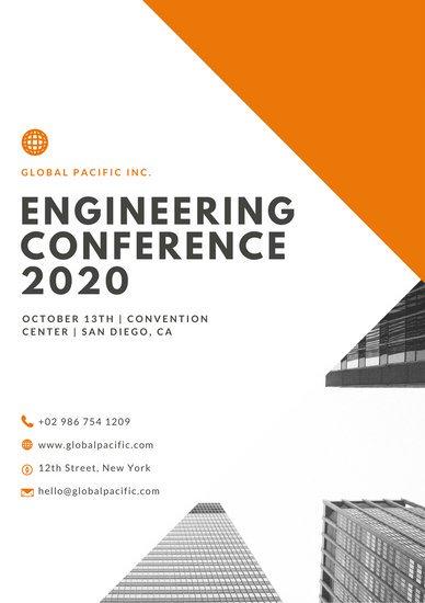 Дизайн программы конференции с оранжевой графикой