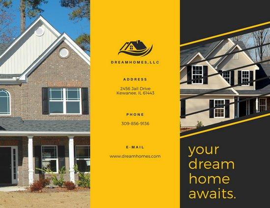Дизайн буклета с черно-желтыми блоками и фотографиями домов