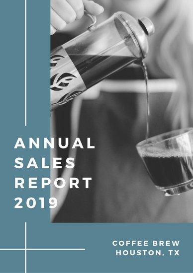 Образец отчета о продажах с черно-белой фотографией кофе и синей рамкой