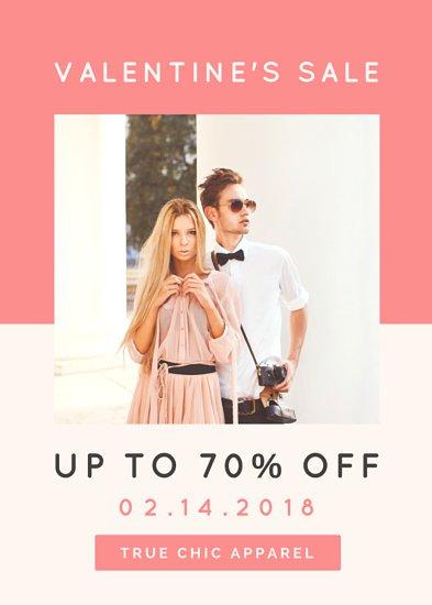 Идея дизайна флаера в бело-розовых тонах с фотографией парня и девушки