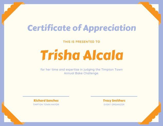 Шаблон сертификата благодарности с декоративными уголками