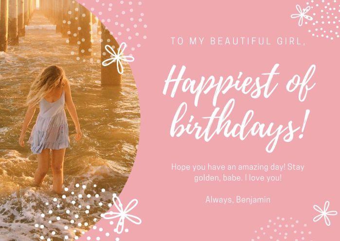 Pink and White Girlfriend Birthday Card
