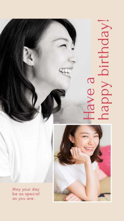 Поздравление с днем рождения женщине с фото и розовым фоном