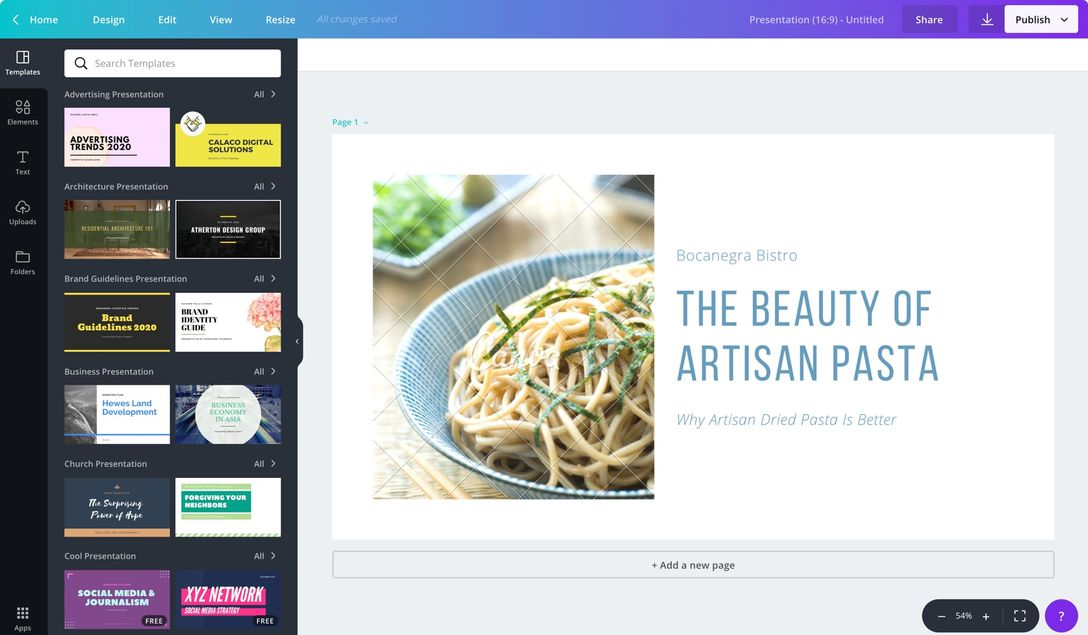 Free Presentation Software Canva