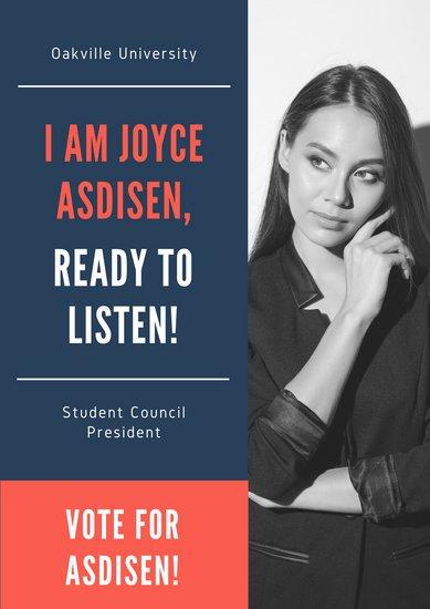 Дизайн плаката для выборной кампании в красно-синих тонах с фотографией девушки