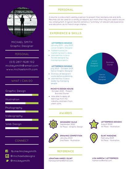 Дизайн резюме с инфографикой