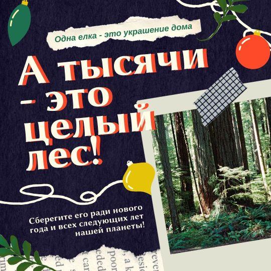 Коллаж для рекламы новогодних елок