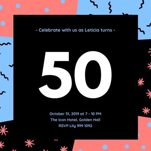 Шаблон открытки на 50-летний юбилей с цветным фоном