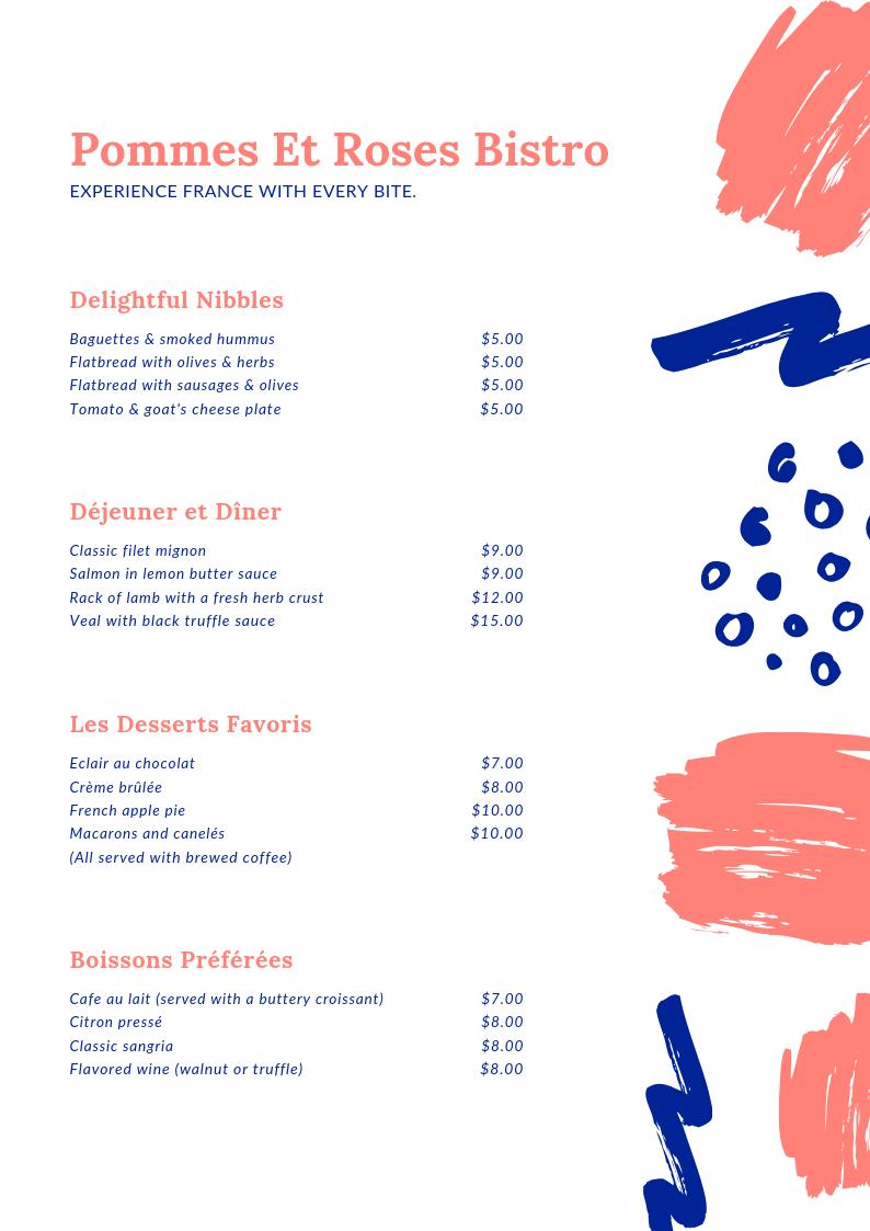 英文菜单设计模板