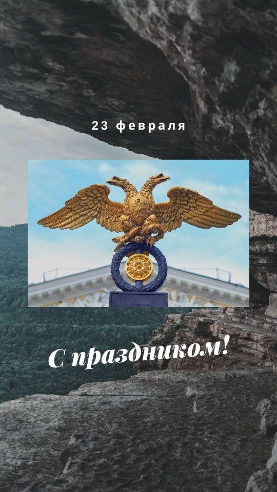 Пример сторис к 23 февраля с фото российского герба