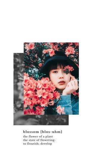 Шаблон для сторис Инстаграм с фотографией девушки среди цветов