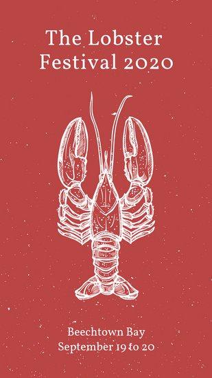 Шаблон для сторис Инстаграм с белым рисунком лобстера на красном фоне