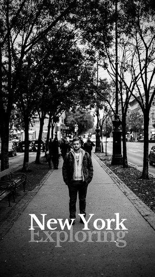 Шаблон Инстаграм сторис с черно-белой фотографией мужчины на улице города
