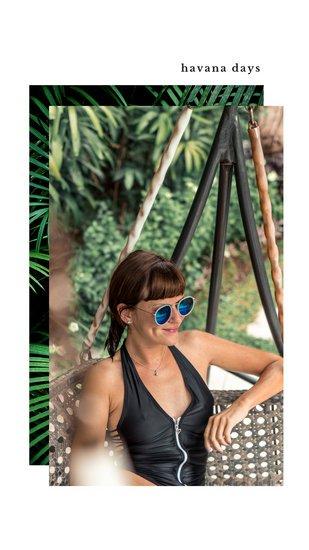 Дизайн Инстаграм сторис с летней фотографией девушки