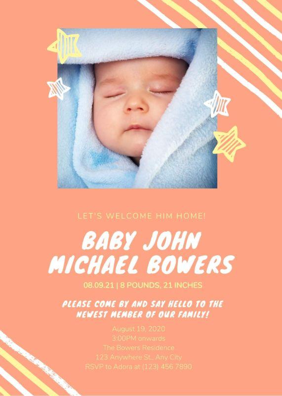 Шаблон открытки с новорожденным с оранжевым фоном и фото
