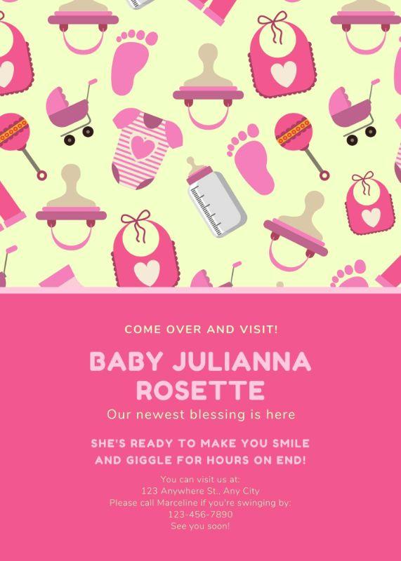 Яркая открытка о рождении ребенка с рисунками игрушек
