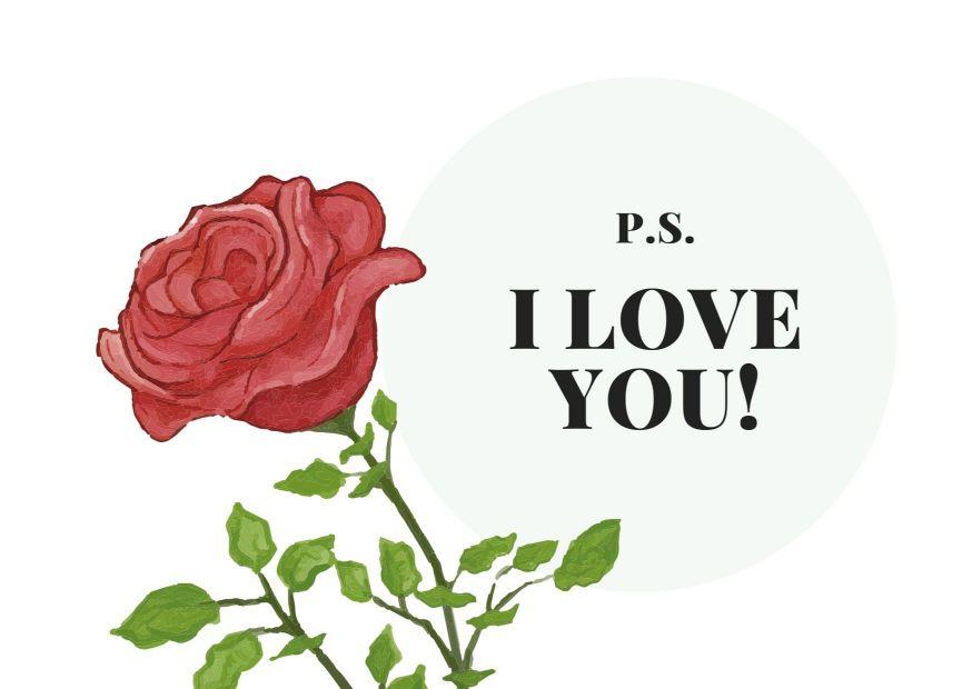 Минималистичная открытка любимым с рисунком розы